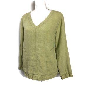 J Jill Linen Sweatshirt Green Long Sleeve Woven